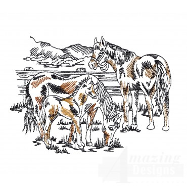Family Prairie Horse Embroidery Design