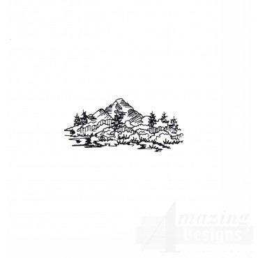 Prairie Hill Scene Embroidery Design