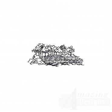 Prairie Forest And Fence Embroidery Design