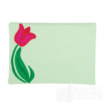 Tulip Applique Mug Rug Embroidery Design