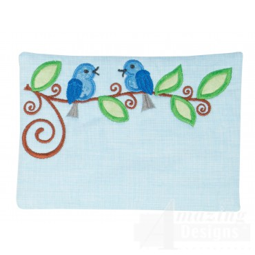 Birds Applique Mug Rug Embroidery Design