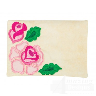 Roses Applique Mug Rug Embroidery Design
