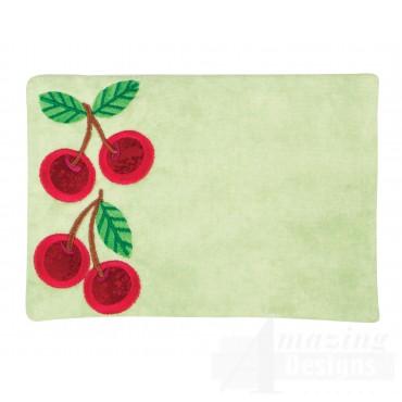Cherries Applique Mug Rug Embroidery Design