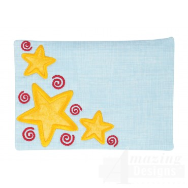 Stars Applique Mug Rug Embroidery Design