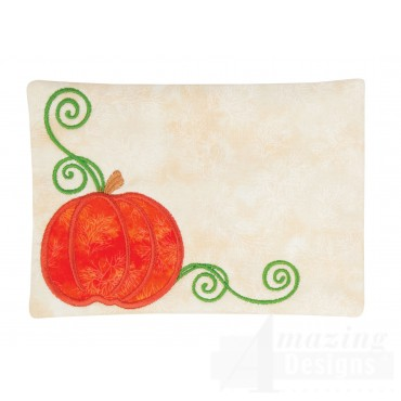 Pumpkin Applique Mug Rug Embroidery Design