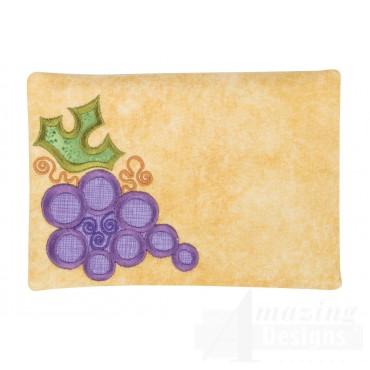 Grapes Applique Mug Rug Embroidery Design