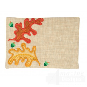 Oak Leaves Applique Mug Rug Embroidery Design