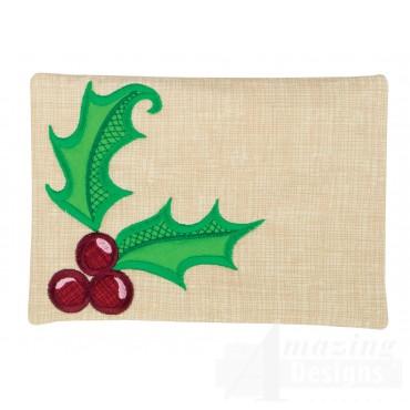 Holly Applique Mug Rug Embroidery Design