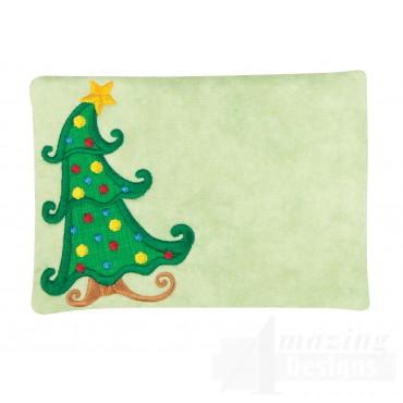 Christmas Tree Applique Mug Rug Embroidery Design