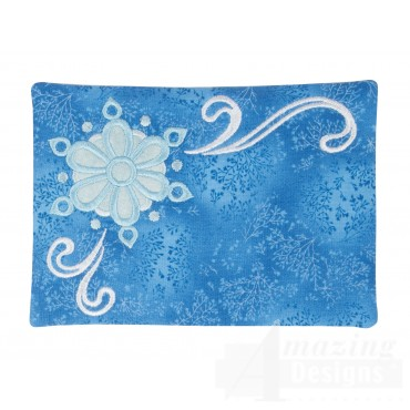 Snowflake Applique Mug Rug Embroidery Design