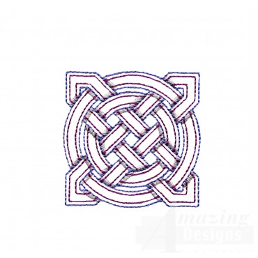 Circle And Star Knot Outline Embroidery Design