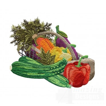 Basket Of Vegetables Embroidery Design