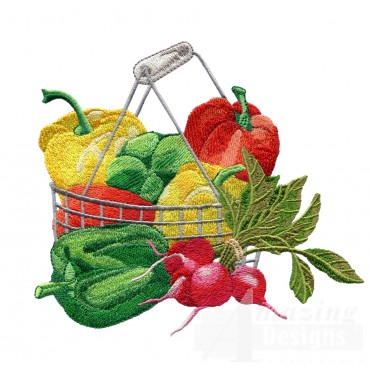Basket Of Peppers Embroidery Design