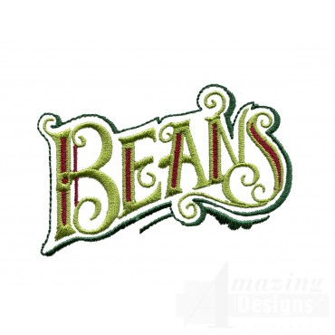 Beans Lettering Embroidery Design