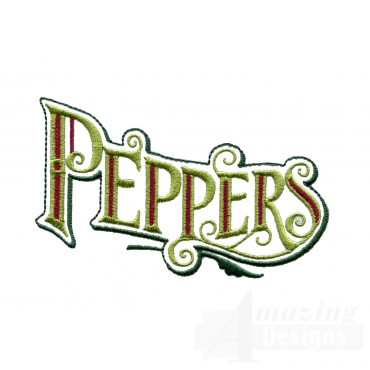 Peppers Lettering Embroidery Design