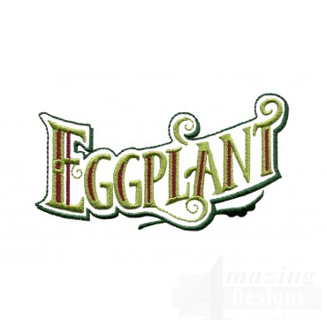 Eggplant Lettering Embroidery Design