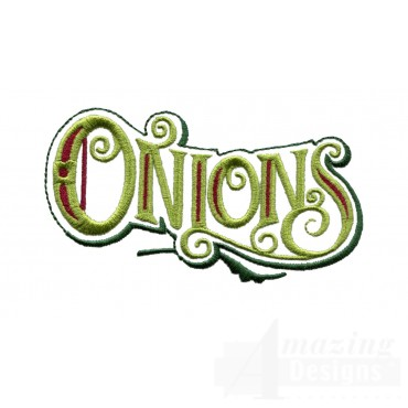 Onions Lettering Embroidery Design