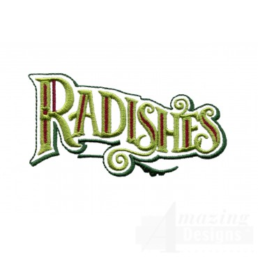 Radishes Lettering Embroidery Design