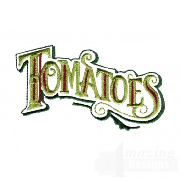 Tomatoes Lettering Embroidery Design