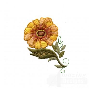 Autumn Crewel Flower Embroidery Design