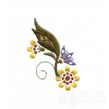 Autumn Crewel Flower And Leaf Embroidery Design