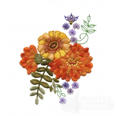 Autumn Crewel Flower Grouping Embroidery Design