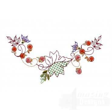 Autumn Crewel Leaf Decoration Embroidery Design