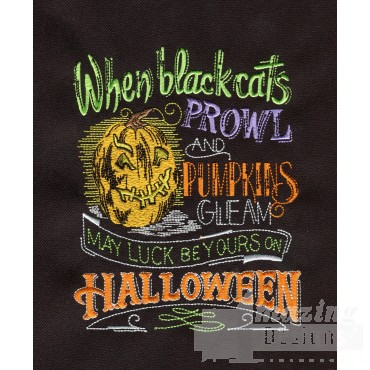Black Cats Prowl Embroidery Design