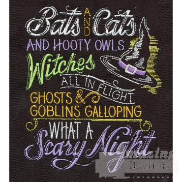 Bats And Cats Embroidery Design