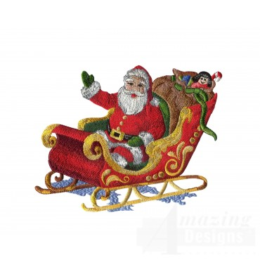 Santa In Sleigh Embroidery Design