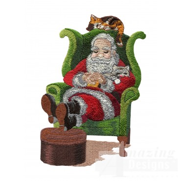 Napping Santa With Kittens Embroidery Design