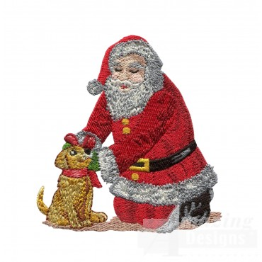 Santa With Puppy Embroidery Design