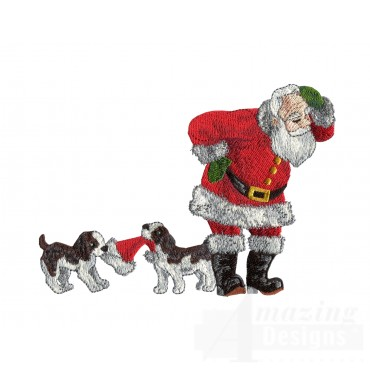 Puppies With Santas Hat Embroidery Design