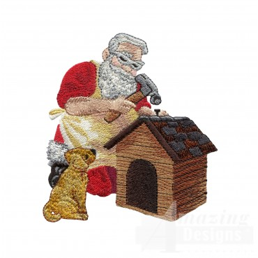 Santa Building Doghouse Embroidery Design