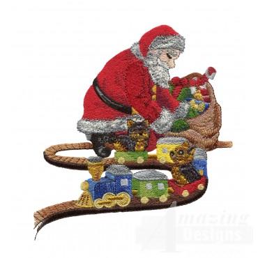 Santa With Train Embroidery Design