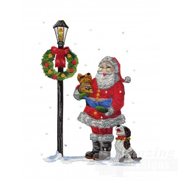 Santa In Snow Embroidery Design