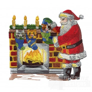Santa By Fireplace Embroidery Design