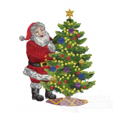 Santa With Tree Embroidery Design