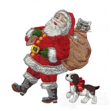 Santa With Friends Embroidery Design