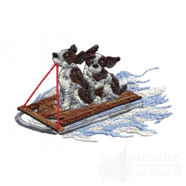 Puppies On Sled Embroidery Design