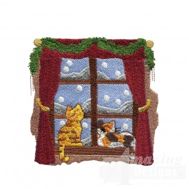 Kittens In Window Embroidery Design