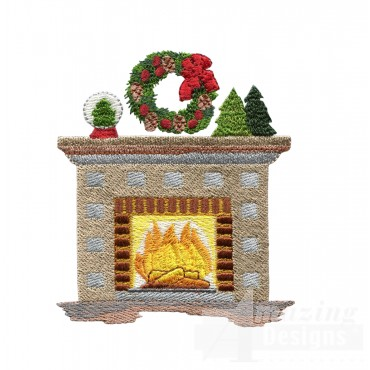 Fireplace Embroidery Design