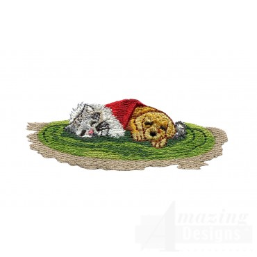 Sleeping Pets Embroidery Design