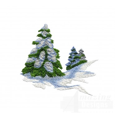 Tree And Snow Embroidery Design