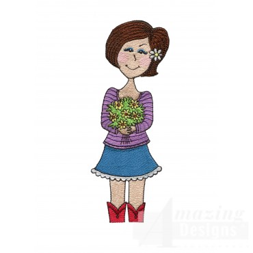 Country Girl With Flowers Embroidery Design