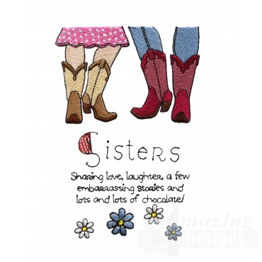 Sister Love Embroidery Design