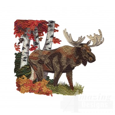 Moose North Woods Autumn Embroidery Design