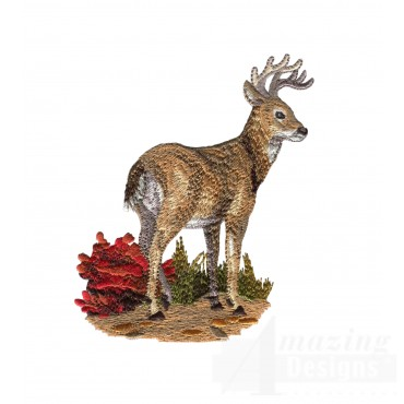 Standing Buck North Woods Autumn Embroidery Design