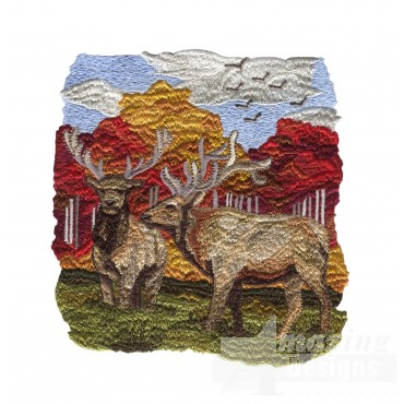 Scenic Elk North Woods Autumn Embroidery Design