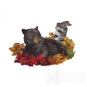 Lounging Bear North Woods Autumn Embroidery Design